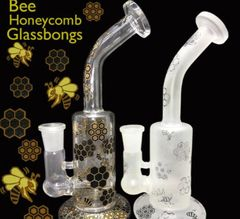 BEE HONEYCOMB GLASSBONG / gold only/8inch