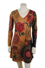 Faux Suede Sleeved Dress With Red Flower Print