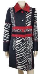 Animal Print French Fully Lined Coat With Elephant Feature
