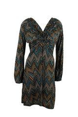 Aztec Print Twist Front , Tie Back Turqoise And Beige Toned Dress