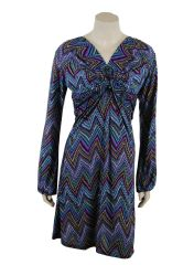 Aztec Print Twist Front , Tie Back Blue Toned Dress