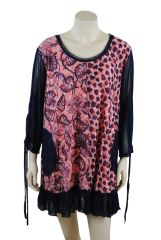 Leaf And Leopard Hearts Pink And Black Tunic Top