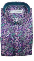 Farsim Purple And Turquoise Paisley Shirt