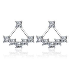 Cubic Zirconia Ear Jacket Stud Earrings