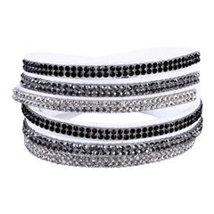White/Black/Silver Wrap Bracelet