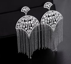Cubic Zirconia Tassel Earrings