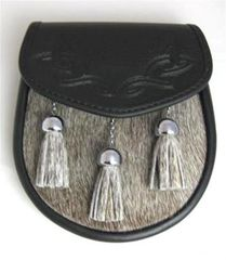 Semi-Dress Sporran with Light Grey Bovine