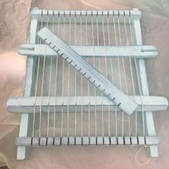 Rustic painted frame loom - French vintage