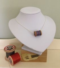 'I Love Textiles' Necklet - Spool of fine silk thread pendant