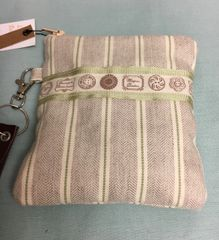 Handmade Cotton Purse - Natural Linen Mint Stripe