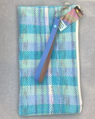 Wristlet strap purse - handwoven cotton fabric