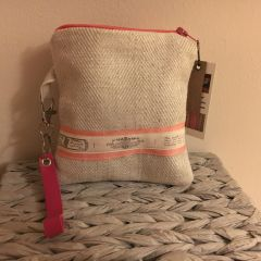 Handmade Cotton Purse - Natural cream with Cerise trim