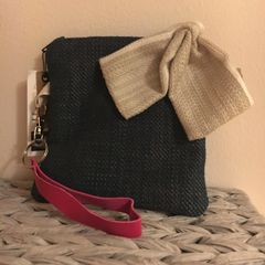 Handmade Cotton Purse - Navy with removable Bow trim