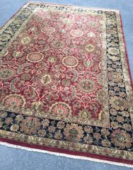 #L00470 LARGE INDIAN AGRA DESIGN RUG SIZE 12'X18' BURGUNDY COLOR