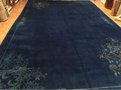 #L00536 Antique handwoven art deco Chinese rug size 11'x17' circa 1920s
