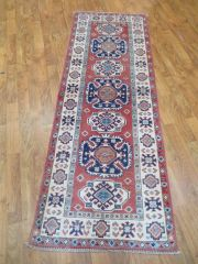 #1114 ANTIQUE LOOK HANDWOVEN AFGHAN KAZAKH RUNNER SIZE 2'X5'6""