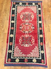 "ANTIQUE HANDWOVEN ART DECO CHINESE RUG SIZE 2'9""X5'4"""