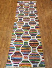 "#L00526 DECORATIVE HANDWOVEN FLAT WEAVE RUNNER SIZE 2'6""X8'"