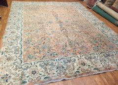 #L00496 Antique Handwoven Persian Tabriz rug size 10'x13' soft colors