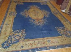 Light blue handwoven Chinese rug size 9'x12' circa 1930s