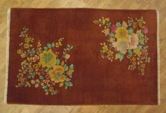 Antique handwoven art deco Chinese rug size 3'x5' circa 1930s