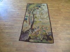 "#1101 Antique handwoven French Tapestry size 2'8""x5'3"""