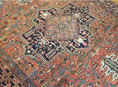 #L00487 Antique handwoven Persian Herize serape size 7'x10' circa 1920s