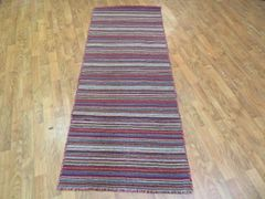 "#1121 HANDWOVEN 100% PURE WOOL FLAT RUNNER, SIZE 2'6""X6'"