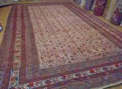 "#L00507 Antique Handwoven Persian Malayer size 11'6""x23'6"" allover design"