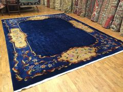 Antique hand woven art deco Chinese rug size 9'x12