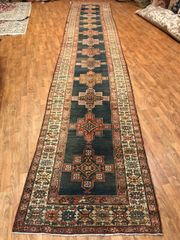 "#R00355 ANTIQUE HANDWOVEN PERSIAN SERAPI RUNNER SIZE 3'6""X18' CIRCA 1900"