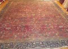 #L00508 ANTIQUE HANDWOVEN INDIAN AGRA SIZE 11'X13' CIRCA 1900