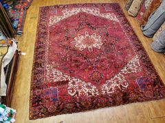 #L00714 S/ANTIQUE AUTHENTIC HANDWOVEN 100% PURE WOOL PERSIAN HERIZ RUG SIZE 10'X13'