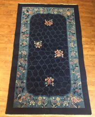 Antique handwoven art deco Chinese rug size 4'x6' circa 1920s