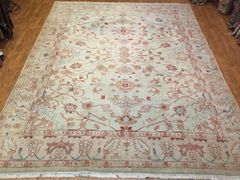 #L00555 Antique look hand woven Afghan chobi rug size 9'x11'