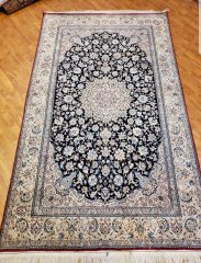 #5003 HANDWOVEN PERSIAN NAEIN 100% SILK & WOOL RUG SIZE 5'X9'