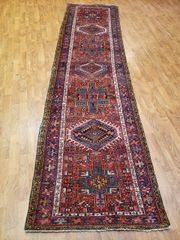 "#L008011 ANTIQUE HANDWOVEN AUTHENTIC 100% PURE WOOL PERSIAN HERIZ RUNNER SIZE 2'8""X12'"