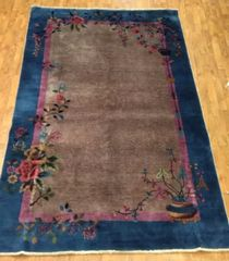 Antique handwoven art deco Chinese rug size 5'x8' circa 1920s