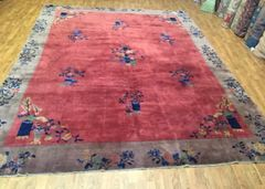 antique handmade art deco design Chinese rug size 9'x12'