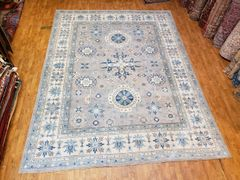 #1010 DECORATIVE HANDWOVEN 100% PURE WOOL KAZAKH RUG SIZE 9'X12'