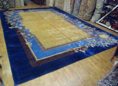 #L00539 Antique handwoven art deco Chinese rug size 11'x16'