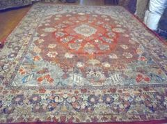 #L00514 Large antique handwoven Persian Sarouk Mahajeran size 12'x16'