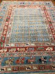 HANDWOVEN HIGH QUALITY PESHAWER RUG SIZE 8'X10' BEAUTIFUL BLUE