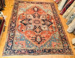 Authentic 100% pure wool Handwoven Persian Herize rug size 9'x12'