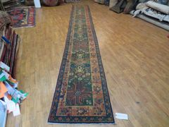 "#1127 ANTIQUE HANDWOVEN INDIAN AGRA RUNNER SIZE 2'1""X15'8"""
