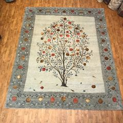 Hand woven Pomegranate tree with pure silk & Wool size 8'x10'