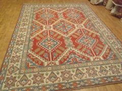 Antique look hand woven Afghan Kazakh 100% pure wool rug size 8'x10'