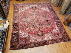 #L00801 S/ANTIQUE HANDWOVEN AUTHENTIC 100% PURE WOOL PERSIAN HERIZ RUG SIZE 10'X13'