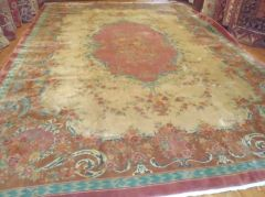 #L00542 Antique handwoven large Chinese rug size 12'x17' circa 1930s