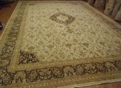 #L00502 Light colored antique handwoven Persian Tabriz size 12'X18' SOFT COLORS